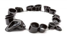 "Biba Schutz - One of a Kind Necklaceoxidized sterling silver  black borosilicate glass1.25""x8.5""x8.5"" (18""length)"