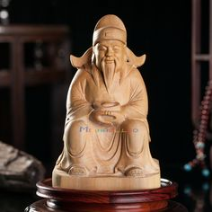 Chinese Folk Temple Boxwood Carved Lucky God of wealth Buddha Wooden Statue