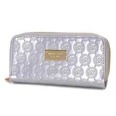 de7228a74408 Wholesale Michael Kors handbags outlet Online for sale - Off Michael Kors  Jet Set Monogram Mirror Metallic Large Silver Wallet -