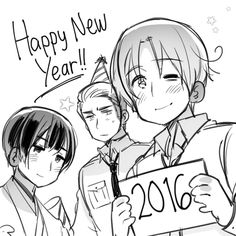 Hetalia (ヘタリア) - Happy New Year!!!! from the Axis Powers ( ´ ▽ ` )ノ - North Italy, Japan, & Germany -「Happy New Year 2016」/「ЯD【 ジン】」のイラスト [pixiv]