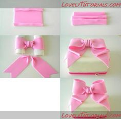 Bow Cakes, Fondant Bow, Cake Decorating Tutorials, Cake Tutorial, Clay Tutorials, Gum Paste, Cake Toppers, Polymer Clay, Bows
