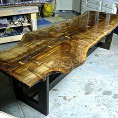 Claro Walnut Tree Slab Table by RusticAlchemy on Etsy Epoxy Wood Table, Wood Slab Table, Wood Table Design, Resin Furniture, Hardwood Furniture, Log Furniture, Rustic Shelves, Wood Shelves, Tree Table