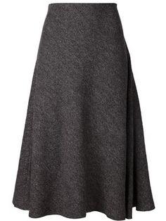 Nice textured gray flared midi skirt