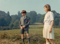 John, played by Simon West and Susan, played by Suzanna Hamilton on location in 1973