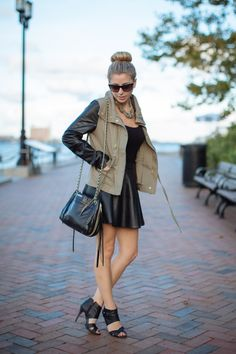 Check out how we styled this @NASTY GAL jacket two ways with a #leatherskirt from @Macy's and #crossbodybag from @Rebecca Minkoff on www.threadsandmane.com