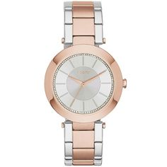 DKNY Women's Stanhope Quartz Two-tone Silver Rose Gold Band Silver Dial
