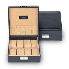 Sacher Uhrenbox für 8 Uhren, feines, italienisches Echtleder, aussen schwarz, innen beige, Referenz 2015.010443.