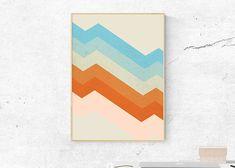 Vibrant Geometric Print, Printable Original Art, Pantone Wall Art, Blue Orange Decor, Retro Mid Century Poster, Giclee Scandinavian Nursery
