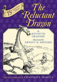 A book-loving boy befriends a complacent, poetry-writing dragon and – to please expectant villagers – masterminds his faux joust with an agreeable St. George in Kenneth Grahame's The Reluctant Dragon, illustrated by Ernest H. Shepard.