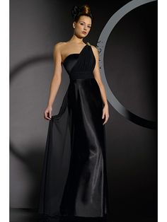 Long Black Satin Bridesmaid Dresses | fashjourney.com