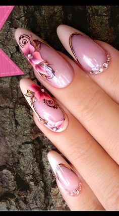 Nails & gel design 2019 flowers design nails & co, wow nails, pink Nail Art Designs, Flower Nail Designs, French Nail Designs, Gel Designs, Wow Nails, Cute Nails, Pretty Nails, Rose Gold Nails, Pink Nails