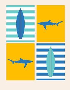 Nursery Decor- Kids Wall Art- Prints for Nursery- Shark and Surfboard- Set of 4 Prints- Nautical Beach Ocean Theme