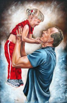 Painting of a father and daughter by Ilse Kleyn. Daddy Daughter Pictures, Father Daughter, Drawing For Kids, Art For Kids, Dad Drawing, Pictures To Draw, Art Pictures, Meaningful Paintings, Dear Dad