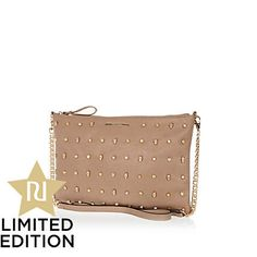 Beige multi stud and skull cross body bag - cross body bags - bags / purses - women