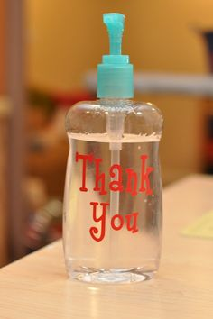 Hand sanitizer for Baby Shower or Meet & Greets so no germs get to baby before someone holds your little one =)