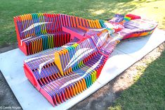 """Milwaukee youth revamp """"Drift"""" bench with a vibrant paint job 