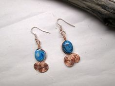 Blue Crazy Lace Agate Spiral Dangle Earrings by NineMileStudios