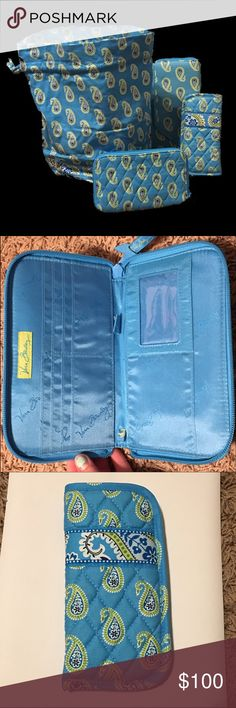 Bermuda Blue Retired Pattern Set Includes a wet clothes bag, a sunglasses case, and two wallets. The ONLY flaw with the set is the small bleach spot on the wet clothes bag. Everything else looks brand new. I will sell pieces separately. I will take offers also since I priced high. Vera Bradley Bags Wallets