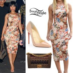 Nicki Minaj was spotted leaving 1 OAK last night wearing the Fashion Nova Autumn Dress ($29.99), a Chanel Métiers d'Art Paris-Salzburg Tweed Calfskin Flap Bag (Not available online) and a pair of Christian Louboutin So Kate 120mm Nude Patent Pumps ($675.00). You can find similar pumps at Akira ($69.90).