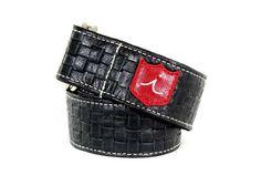 Woven Black Leather D-Ring Belt