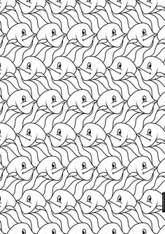 Horseman Tessellation by M.C. Escher coloring page from