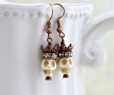 Pirate Queen Earrings - skull and crown Day of the Dead jewelry - Dia de los Muertos - Pirate earrings