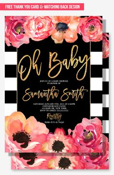 Glamorous Baby Shower Invitation For Your Modern Party Theme Blush Pink And Peach With