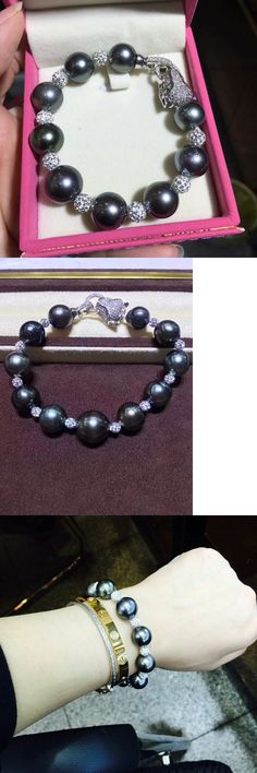 Pearl 164316: 9-10 Mm Real Natural Round Tahitian Black Pearl Bracelet 7.5 -8 Silver -> BUY IT NOW ONLY: $51.92 on eBay!