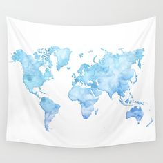 Goldworldmapwalltapestrybysamantharanlet 3900 uooncampus light blue watercolor world map wall tapestry gumiabroncs Choice Image