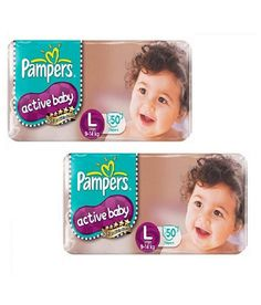 Pampers Active Baby Diapers Size L(large) (9-14kg)-50pcs Diapers Pack Of 2  available at snapdeal for Rs.1760