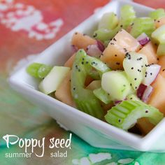Poppy Seed Summer Salad - cantaloupe, cukes, red onion, celery & poppy seed dressing.  #MyAllrecipes  #AllrecipesAllstars  #AllrecipesFaceless