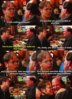 Dwight & Kevin The Office Best Tv Shows, Best Shows Ever, Favorite Tv Shows, Parks N Rec, Parks And Recreation, The Office Finale, Threat Level Midnight, Office Jokes, Best Boss