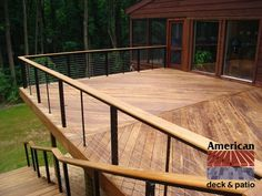 Deck railing isn't just a security feature. It can include a spectacular visual to mount a decked area or veranda. These 36 deck railing ideas show you how it's done! Deck Railing Ideas Cheap, Deck Balustrade Ideas, Vinyl Deck Railing, Horizontal Deck Railing, Deck Railing Design, Deck Railings, Pergola Designs, Deck Design, Cable Railing
