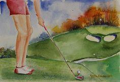 #golf #golfart #art #painting #conceptart #conceptual #contemporary #parthree #golf #course #golf #green #golf #club #golfball #motivation #golfer #original #artwork #arte #aquarelle #fineart
