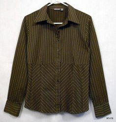 Apt. 9 Button Down Cotton-blend Stretch Top / Shirt Women's Size M Brown with Green and White Stripes