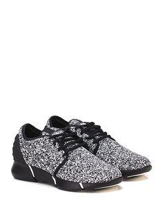 ELENA IACHI - Sneakers - Donna - Sneaker in glitter con logo su linguetta ed inserto in gomma effetto borchiato su tallone. Suola in gomma extra light, tacco 30, platform 20 con battuta 10. - NERO\BIANCO