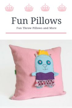 Princess Cat Pink Throw Pillow, Pink Nursery Decorative Pillow, Baby / Kids Room Decor, Baby shower gift, Kids Cute Fun Throw Pillow Cover