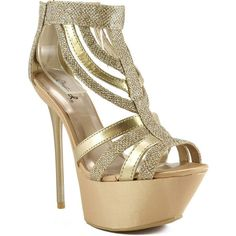 Qupid Ciara-08 Platform High Heel Stiletto Strappy Glitter Sandal ($25) ❤ liked on Polyvore featuring shoes, sandals, beige, high heel sandals, strappy platform sandals, wedge shoes, strappy sandals and glitter flats