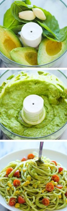 Healthy Recipe Avocado Pasta The easiest most unbelievably creamy avocado pasta that everyone will love And itll be on your dinner table in just 20 min Creamy Avocado Pasta, Avocado Pesto, Creamy Pasta, Avocado Food, Avocado Creme, Avocado Salat, Paleo Recipes, Cooking Recipes, Wheat Pasta Recipes Healthy
