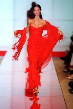 46 incredible couture runway moments from the '90s: Gisele Bundchen in Valentino, 1999 - HarpersBAZAAR.com