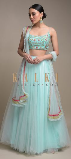 Buy Online from the link below. We ship worldwide (Free Shipping over US$100)  Click Anywhere to Tag Sky Blue Skirt And Crop Top With Floral Embroidery And Pleated Frill Dupatta Online - Kalki FashionSky Blue Skirt And Crop Top With Floral Embroidery And Pleated Frill Dupatta Online - Kalki Fashion Sky blue skirt fabricated in net.Teamed with a matching crop top with thread, beads and sequins embroidery in floral pattern.Designed with spaghetti sleeves and U neckline.
