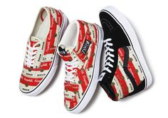 """Supreme has teamed up with Campbell's to create a small group of products highlighting this iconic label. The group will include three classic Vans styles – the Sk8-Hi, the Half Cab, and the Authentic, as well as a 5-Panel cap and a T-Shirt."""""""