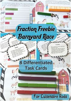 PDL's Barnyard Equivalent Fraction Race Game for Cuisenaire® Rods has two fraction activities that allow student to gain fluency in equivalent fractions. These activities are a platform for students to discover equivalent fractions. These activities are great in large groups, small groups or individually.