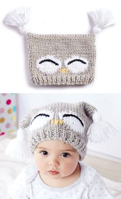 Free Knitting Pattern for I'm a Hoot Hat - This pattern for an owl baby hat comes with a free video tutorial. Sizes: 6-12 months and 18-24 months. Designed by Bernat.