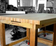 """These workbenches were made 100% from pallet wood. The tops are 36"""" x 40"""" x 2"""" thick, all laminated from pallet slats. The main frame is fabricated from 3.5"""" x 2.5"""" pallet runners and 1.5"""" thick pallet slats, all from a super heavy duty pallet. Only thing I had to purchase for this project was 8 locking casters!"""