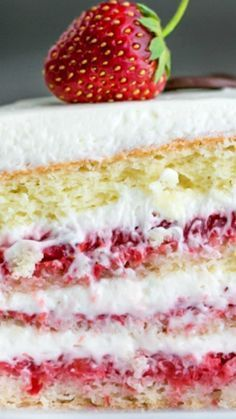 This strawberry cake recipe is layer after delicious layer of fresh strawberries, a lightly sweet cream cheese frosting, and moist European sponge cake. An easy and excellent fresh strawberry cake you will make again and again. Cake Mix Cookie Recipes, Sponge Cake Recipes, Cake Mix Cookies, Cupcake Recipes, Dessert Recipes, Cupcakes, Strawberry Sheet Cakes, Homemade Strawberry Cake, Fresh Strawberry Recipes
