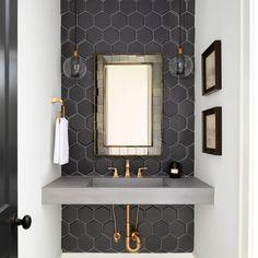 Dream House Tour: A beautiful modern farmhouse in North Carolina - Decor Bathroom - Badezimmer Art Deco Bathroom, Bathroom Trends, Bathroom Sets, Modern Bathroom, Small Bathroom, Bling Bathroom, Art Deco Tiles, Rental Bathroom, White Bathrooms