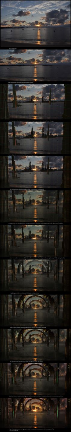 Sci-fi Matte Paintings close-ups and walkthroughs by Sebastien Hue, via Behance