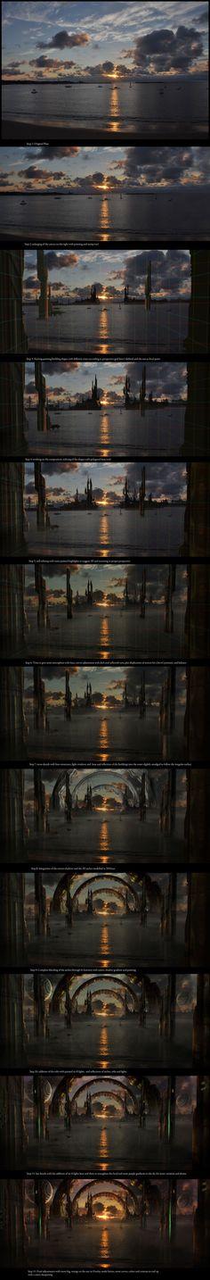 Sci-fi Matte Paintings close-ups and walkthroughs by Sebastien Hue, via Behance