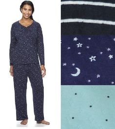775f14f9b3 Croft Barrow Womens Henley Knit Pajama Set 2 Piece Long Sleeves size XS NEW